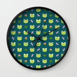 Frogs, Dragonflies and Lilypads on Teal Wall Clock