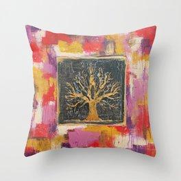 Autumn Window - Bronze Tree Painting Throw Pillow
