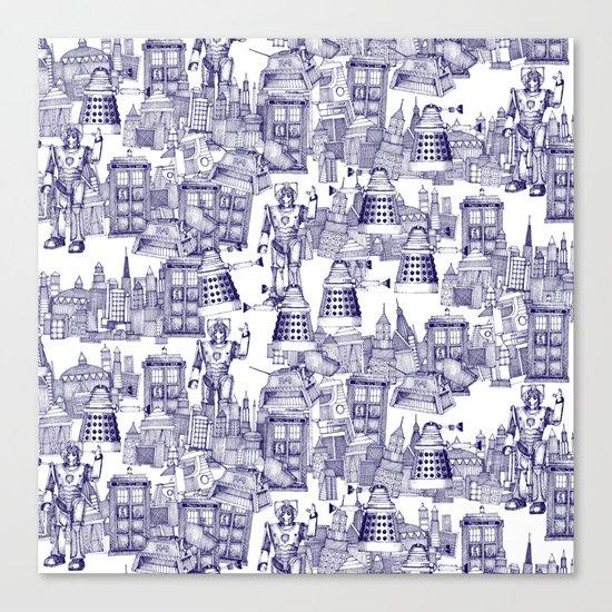 Doctor Who Toile de Jouy | 'Walking Doodle' | Blue Canvas Print