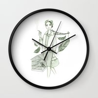 movies Wall Clocks featuring The Birds - Movies & Outfits by Meritxell Garcia