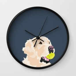 Golden Retriever with tennis ball Wall Clock