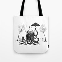 lovecraft Tote Bags featuring Young Master Lovecraft Finds A Friend by Jon Turner