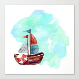 Ship in the Watercolor Canvas Print