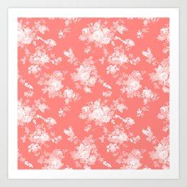Vintage elegant coral white bohemian floral Art Print