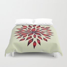 Abstract Red Flower Doodle Duvet Cover