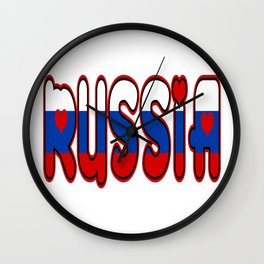 Russia Font with Russian Flag Wall Clock