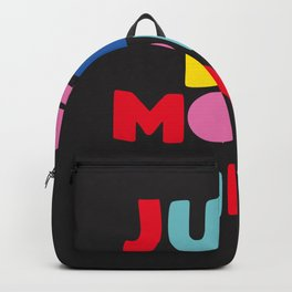 Just Be More Kind red blue pink yellow and black hand drawn type Backpack