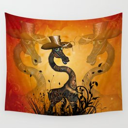 Funny steampunk giraffe with hat Wall Tapestry