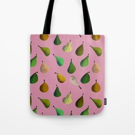 Pears pattern in pink background Tote Bag
