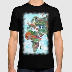 World Stamp Map Mens Fitted Tee Black LARGE