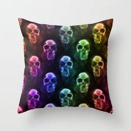 Rainbow Skulls on Black Throw Pillow