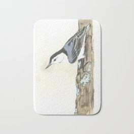 White-Breasted Nuthatch - Watercolor Bath Mat