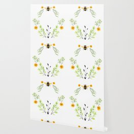 Bees in the Garden - Watercolor Graphic Wallpaper