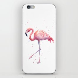 Flamingo Watercolor Pink Bird iPhone Skin