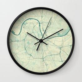Nashville Map Blue Vintage Wall Clock