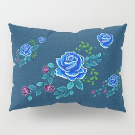 Blue Embroidery Rose Pillow Sham