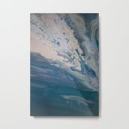 Purple, Blue, and White Abstract Fluid Acrylic Painting Metal Print