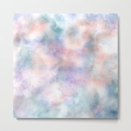 Watercolor Dreams, Abstract Pastel Clouds Metal Print