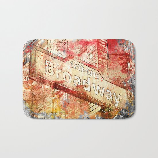 Broadway street sign mixed media art Bath Mat
