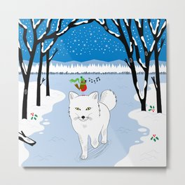 The Arctic Fox and The Robin Metal Print