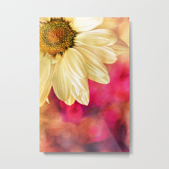 Daisy - Golden on Pink Metal Print