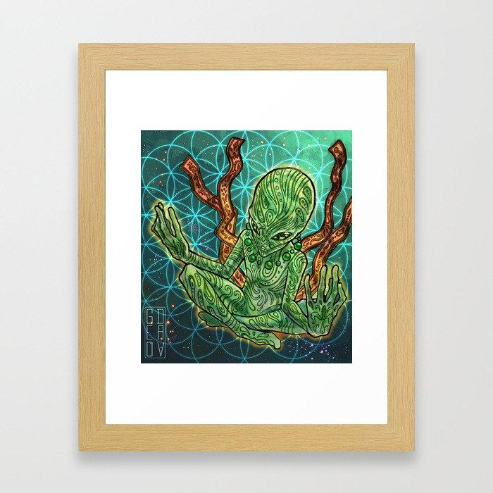 meditating alien Framed Art Print