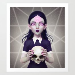 Witch With Skull Art Print