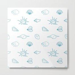 Seamless blue seashell pattern Metal Print