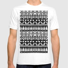 Black and White Hand Drawn Modern Tribal Aztec White Mens Fitted Tee MEDIUM