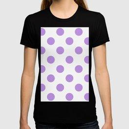 Large Polka Dots - Light Violet on White T-shirt