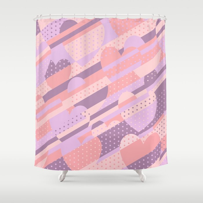 Sweet Heart Pattern (Pastel Coral Pink, Lavender) Shower Curtain by ...