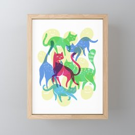Multi-colored Cats Framed Mini Art Print