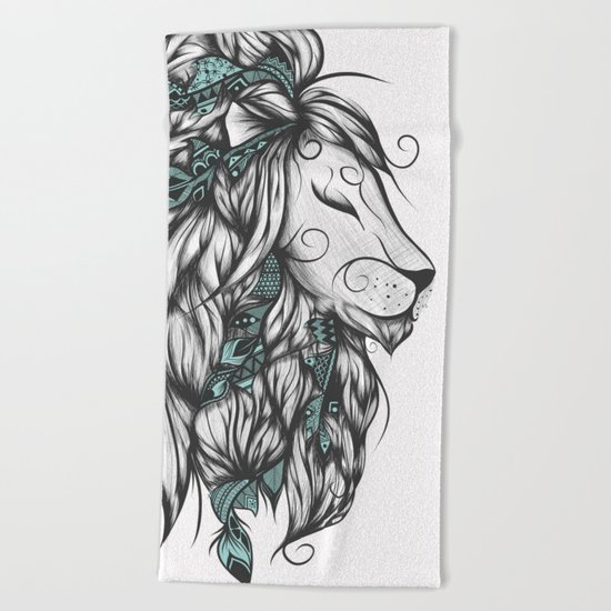 Poetic Lion Turquoise Beach Towel