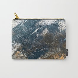 Wander [4]: a vibrant, colorful, abstract in blues, white, and gold Carry-All Pouch