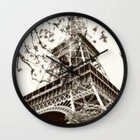 eiffel tower Wall Clocks featuring Eiffel Tower by Linde Townsend
