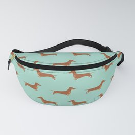 Red Dachshund Chocolate Tan Sausage Dog on Mint Green Background Dog Pattern for Dog Lover Fanny Pack
