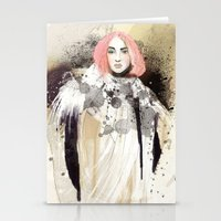 fashion illustration Stationery Cards featuring FASHION ILLUSTRATION 13 by Justyna Kucharska
