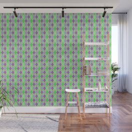 Argyle Diamond Shape Plaid Pattern Dark Purple, Light Purple, Green and Pastel Green Polka Dots Wall Mural