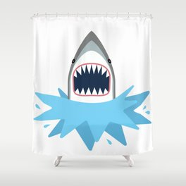 Cartoon Shark Splash Shower Curtain