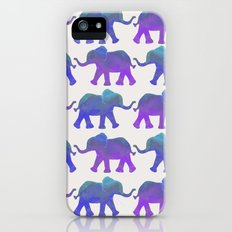 Follow The Leader - Painted Elephants in Royal Blue, Purple, & Mint iPhone (5, 5s) Slim Case