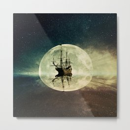 ghost ship moonlight Metal Print