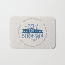 """The Joy of the Lord"" Hand-Lettered Bible Verse Bath Mat"