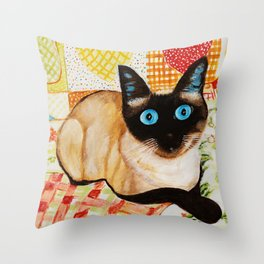 Misha the beautiful Siamese Cat Throw Pillow