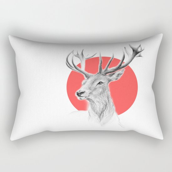 Deer | red Rectangular Pillow