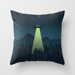 Forest UFO Throw Pillow