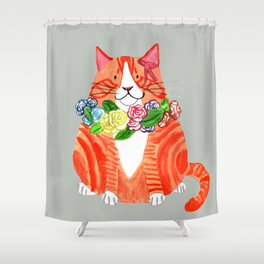 Marmalade Cat with Flower Crowns Shower Curtain