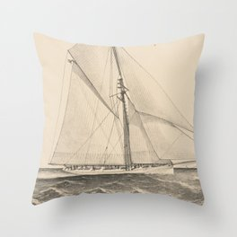 Vintage Illustration of the Sloop Yacht Mayflower Throw Pillow