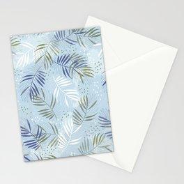 Pretty tropical Palm leaf pattern illustration - blue, kaki #tropicalart Stationery Cards