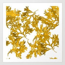 Ocre Seaweed Pattern Art Print