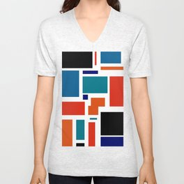 Modern Mondrian (white) Unisex V-Neck